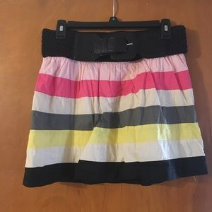Cute and colorful striped skirt with belt